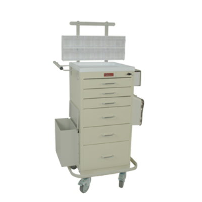 Six Drawer Mini Line Phlebotomy Cart Package with Turn Latch
