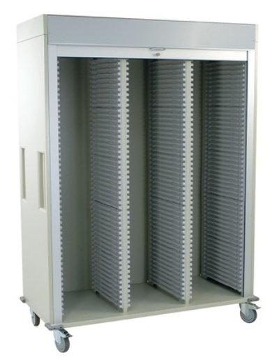 Medical Storage, Triple Column Cart with Tambour Door and Key Lock