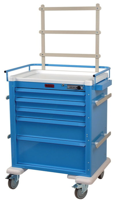 Aluminum Universal Line Tall 5 Drawer Anesthesia Cart with Mechanical Combination Lock