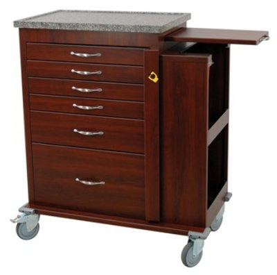 'Wood Look' Vinyl Coated Aluminum 6 Drawer Emergency Cart with Side Cabinet, Standard Package