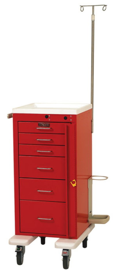 Six Drawer Mini Line Emergency Cart with Accessory Package