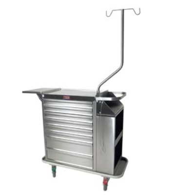 Stainless Steel Eight Drawer Cast Cart, Deluxe Package