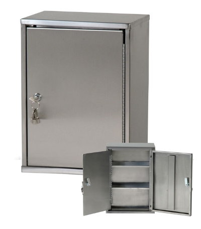 Heavy Duty Narcotics Cabinet, Dual Door/Dual Lock Stainless Steel