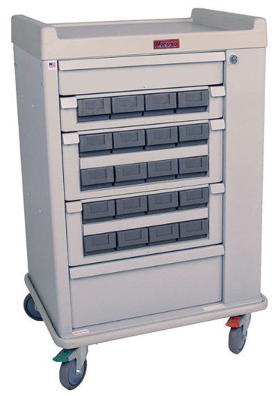 OptimAl Line, Aluminum 20 Bin Cassette Medication Cart